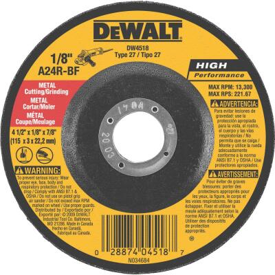 DeWalt HP Type 27 4-1 In. x 1/8 In. x 7/8 In. Metal Grinding Cut-Off Wheel