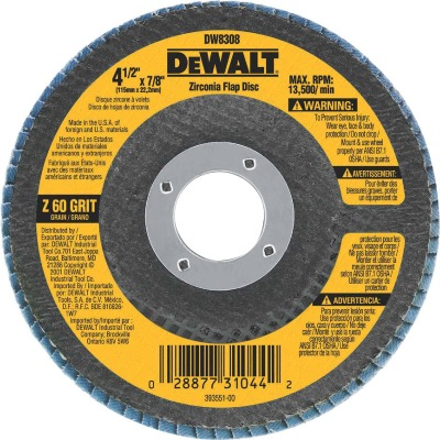 DeWalt 4-1/2 In. 60-Grit Type 29 High Performance Zirconia Angle Grinder Flap Disc