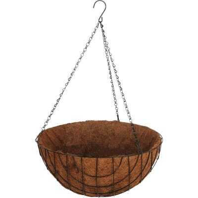 Best Garden 16 In. Steel Rod Black Powder Coat Hanging Plant Basket