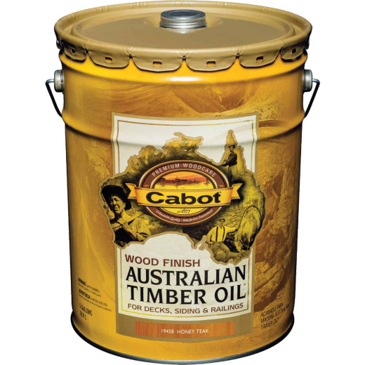 Cabot Australian Timber Oil Water Reducible Translucent Exterior Oil Finish, Honey Teak, 5 Gal.